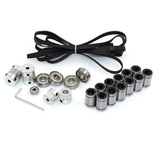 BIQU 3D Impresora RepRap Prusa i3Kit de Movimiento 2m GT2Timing cinturón + 20T Timing Polea + 608ZZ Rodamientos + LM8UU Lineal Rodamientos + 624ZZ Teniendo + Eje del Motor acoplador