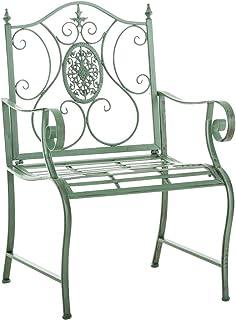 Silla de Jardín Punjab en Estilo Antiguo con Apoyabrazos | Silla de Hiero en Estilo Rústico | Silla de Balcón Estilo Medieval | Color, Color:Antiguo-Verde