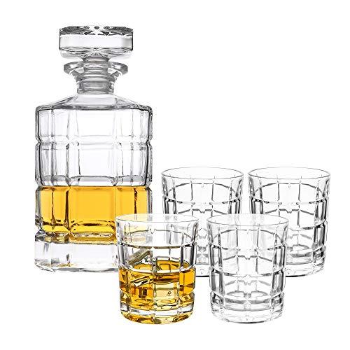 5-tlg Whiskyset Karaffe Trinkgläser - Geschenk-Set aus Bleifreien Glas - Whiskey Dekanter 800ml mit 4 Whiskygläser 320ml für Rum, Scotch, Cognac - Geschenk für Männer - ohne Geschenkverpackung