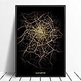 Leinwanddrucke,Minimalistisches Schwarz Und Gold Manchester