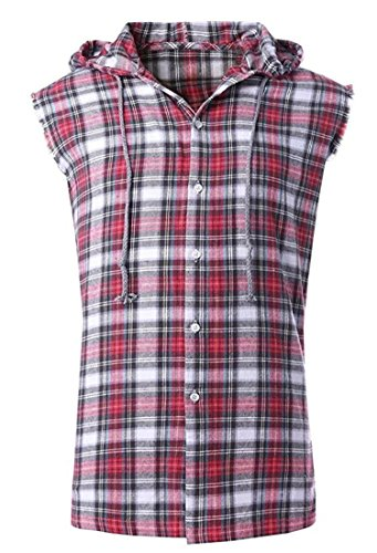 NUTEXROL Men's Casual Flannel Plaid Shirt Sleeveless Cotton Plus Size Vest X-Large Red and Grey