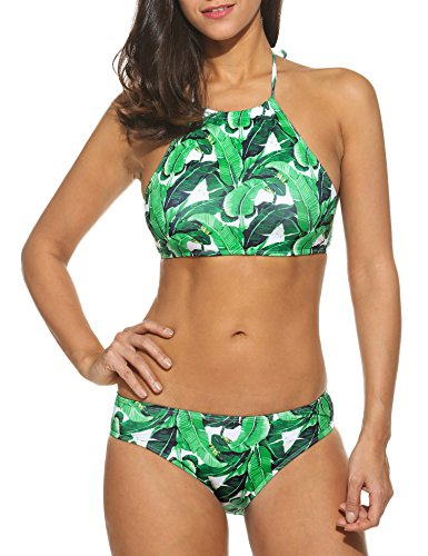 Ekouaer Womens Forest Leaves Printing High Neck Halter Bikini Set Swimsuit Green