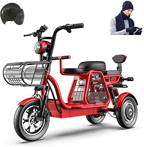 Ebikes, 3 Wheel Electric Bike for Adult 500W 48V Mountain Electric Scooter 12 In Electric Bicycle Multiple Shock Absorption with Storage Basket and Kid Seat for Family with Children or Pets ZDWN