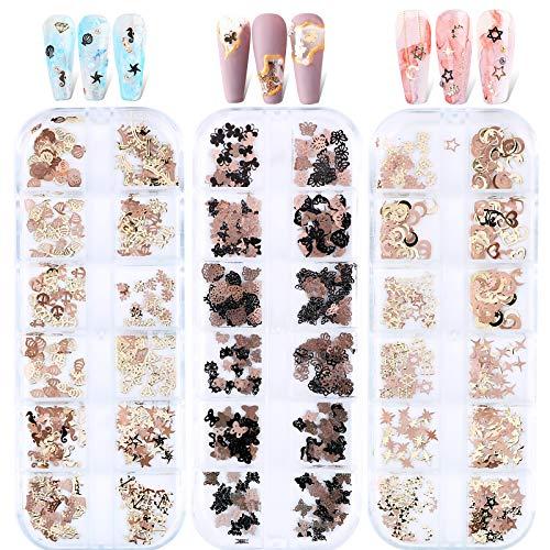 FLOFIA 36 Estilos Lentejuelas Flores/Corazón/Mariposa/Estrella Uñas Decoración, Adornos de Uñas Piedras 3D, Pedrería Cristales de Uñas Palos Perla Acero Nail Glitter Arte de Uñas