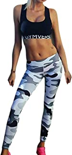 Qootent Women Camouflage Leggings Yoga Pants High Waist Casual Feet Trousers