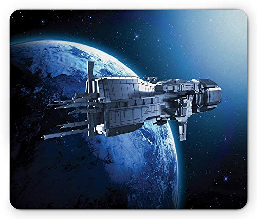 Gaming-Mauspad, Mauspads Outer Space Mouse Pad, Spaceship Planet Earth Stars Scenery Cosmos Travel Universe Space Man Image, Standard Size Rectangle Non-Slip Rubber Mousepad, Blue Black