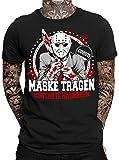 Maske tragen - Kontakte halbieren Jason Herren Fun T-Shirt | Halloween | Purge | Virus | Sprüche | Horror | Statement | Männer T-Shirt |