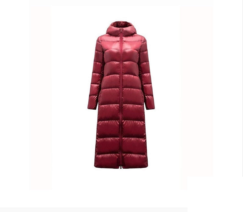 Aehoor Long Down Jacket Female Light Hooded Slim Feather Winter Windbreaker Warm Pike