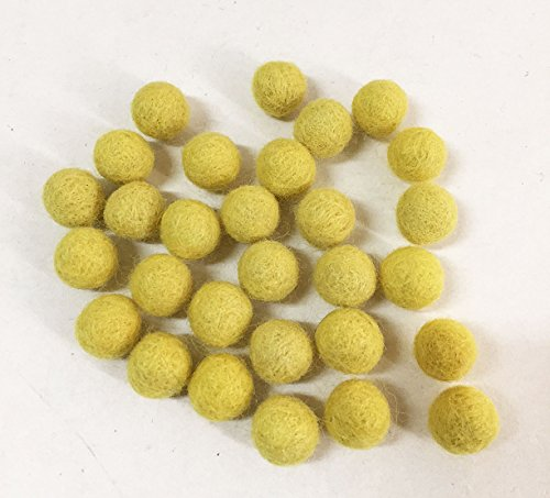 Yarn Place Felt Balls - 40 Pure Wool Beads 15mm Color Pack (15 mm, Lemon Yellow)