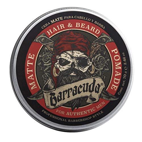 Barracuda Cera para Cabello y Barba, 70 g, For Authentic Men, Hair & Beard Pomade (Mate)