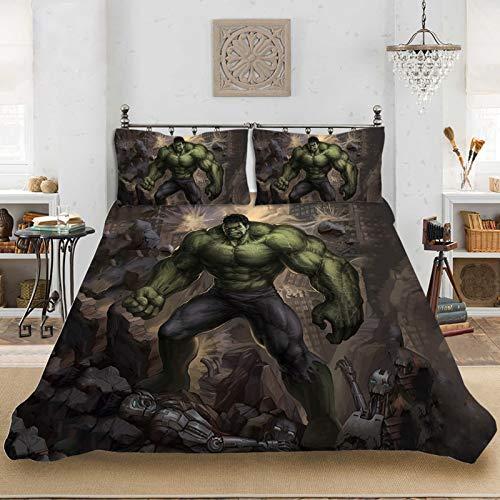 WTTING Marvel Comics Avengers Bettwäsche, Iron Man, Spiderman, Hulk, Captain America Motiv mit Bettbezug und Kissenbezug, Bettbezug für Kinder (135 x 200 cm)
