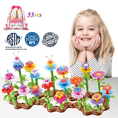 LuckFire Flower Garden Building Toys, 11 Colors Bouquet Flower Arrangement STEM Garden Toy Set, DIY Educational Gardening Arts& Crafts for Girl Boy Christmas Birthday Gifts (55 PCS)