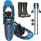 NEWTENDENCY 25'/30' Terrian Lightweight Snowshoes+Adults Men Women Youth Trail Snow Shoes+Waterproof Leg Gaiters +Anti-Shock Adjustable Trekking Poles Snowshoeing +Free Carrying Bag (Blue) (Blue, 25)