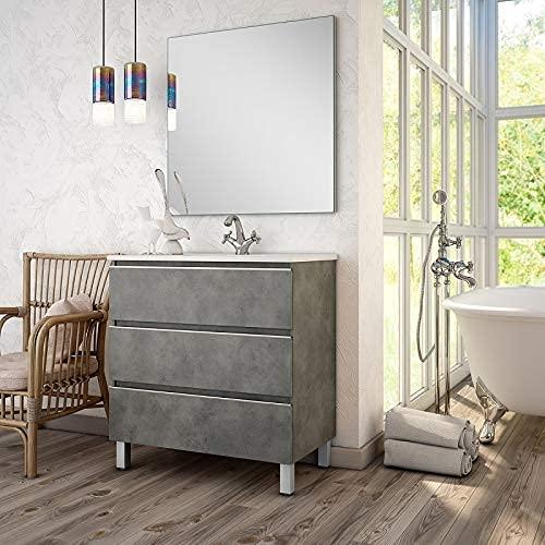 Aquareforma   Mueble de Baño con Lavabo y Espejo   Mueble Baño Modelo Sundee 3 Cajones con Patas   Muebles de Baño   Diferentes Acabados Color   Varias Medidas (Cemento, 70 cm)