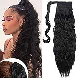 TESS Pferdeschwanz Extensions Schwarz Ponytail Hair Corn Wave Zopf Haarteil Clip in Extensions wie Echthaar günstig mit Klettverschluss 20'(50cm)-90g