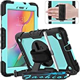 Timecity Tablet Case for Galaxy Tab A 8.0 (Only Fit SM-T290/T295/T297 2019 Release), Tablet Case Protector with Rotating Stand Screen Protector Handle Shoulder Strap, Black/Light Blue