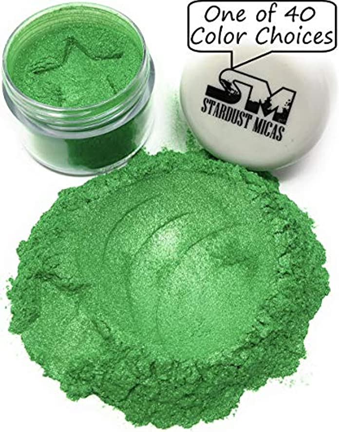 Green Pigment Powder for Resin, Mica Powder for Cold Process Soap Making, Green Mica Powder for Melt and Pour, Ultra-Fine Pigment Powder, Color Stable Colors (Grassy Green, 10 Gram Jar)