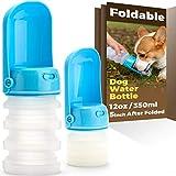 Poobii Dog Water Bottle, Foldable Pet Water Bottle for Dogs, Dog Travel Water Bottle, Dog Water Dispenser, Lightweight Dog Water Bottles for Walking, Food-grade Silicone, Blue