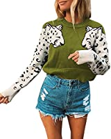 Mansy Women's Casual Long Sleeve Crew Neck Cute Animal Leopard Print Knitted Pullover Sweater Tops Green