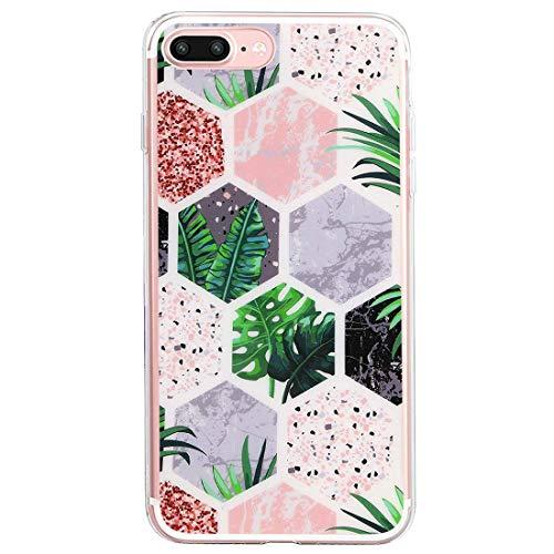 Compatible con iPhone 7 Plus, funda suave de goma suave de mármol transparente, antideslizante, suave, antigolpes, funda flexible de TPU antiarañazos 1 Talla única