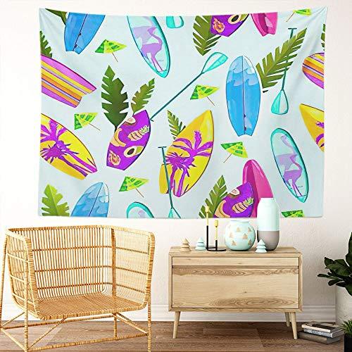 Y·JIANG Tapiz hawaiano, tabla de surf multicolor de verano, palas, paraguas para el hogar, dormitorio, manta ancha para colgar en la pared para sala de estar, dormitorio, 152,4 x 127 cm