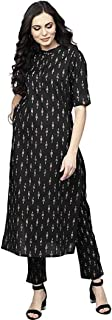 GoSriKi Women's Cotton Straight Kurta With Pant