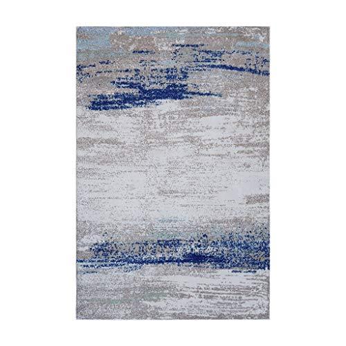 Tapis JXLBB Bleu 1.4x2m Nordique Moderne Minimaliste Abstrait Salon Canapé Table Basse Américain Chambre Couverture De Chevet Vestiaire Couverture Décorative