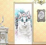 Etiqueta engomada de la puerta papel pintado de gato de dibujos animados 2 unids / set DIY autoadhesivo sala de estar dormitorio puerta pared pegatina Mural calcomanías para decoración del hogar