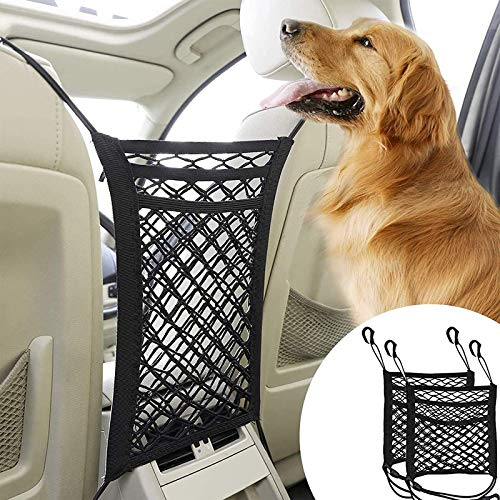 XIAQIU Barriere per Cani, 2 pezzi Barriera Divisoria per Veicoli, Rete Auto per Cani, Rete Divisoria Universale per Auto, Barriera di Sicurezza per Animali Domestici, Separatore da Auto per Cani