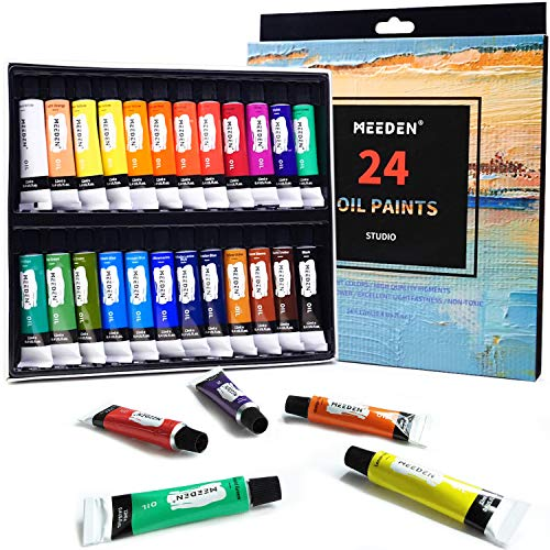 MEEDEN Oil Paint Set, 24 Tubes (12ml/0.4oz) Oil-Based Colors, Vibrant Non Toxic Oil Painting Set for Students Beginners Hobby Painters