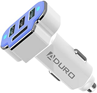 Aduro 4 Port Car Charger Adapter, 12V Fast Car Charger USB Adapter Power Station 5.2A/26W Output (Blue)