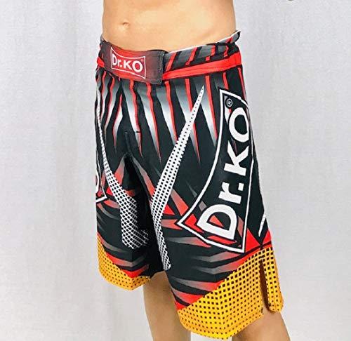 Dr. K.O. Pantalones Cortos Shorts MMA para Lucha, Boxeo, Artes Marciales, Kick Boxing, Muay Thai (Negro y Rojo, XL)