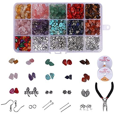 uentas de cristal para hacer joyas, kit de cuentas de piedra de chips de cristal natura suministros de fabricación de pendientes con ganchos para pendientes, colgantes y anillos de salto