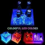 Seau à glace Volwco à LED à changement de couleur - Double couche carrée - Seau à glace à bière - Pour boissons à champagne ou à vin - Pour KTV Party Bar à la maison, mariage - 3,5 l