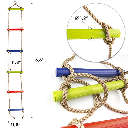 Rope ladder for kids multicolor- outdoor or indoor climbing rope ladder - Ladder for backyard, playground, home gym, basement, pool, fitness class, camping trip, beach park, treehouse, jungle gym