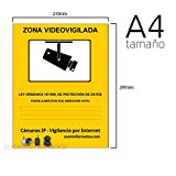 Cartel zona vigilada color amarillo. Diseño homologado para cámaras de vigilancia.Util para comercios, empresas con cámaras de seguridad. Zona vigilada video-vigilada. Cartel informativo (A4 Rígido)