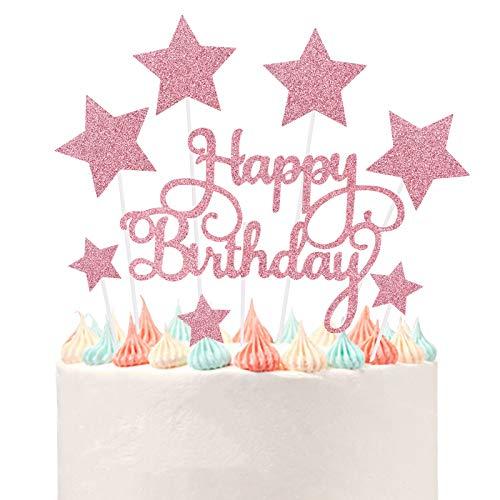 VAINECHEY Decorazioni per Torte di Compleanno Cake Topper Happy Birthday Decorazioni Torta Decoration Cupcake Toppers per Torte Glitterate per Party Bambini Baby Shower