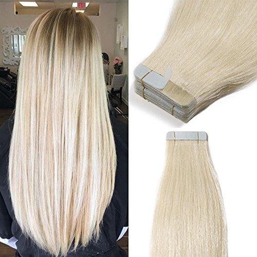 Extension Capelli Veri Biondi Adesive 100g 40 Ciocche Biadesive Capelli Naturali con Biadesivo Tape Hair Extensions Remy Human Hair (45cm #60 Biondo Platino)