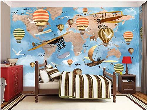 XQFZXQ Tapete Tapete Selbstklebend PVC Hand gezeichneter Globus-Raumschiffballon 3D Wandbilder Für Fernseher Hintergrund Wohnzimmer fototapete 3d effekt tapete tapeten vintage wandbil(B)200x(H)150cm