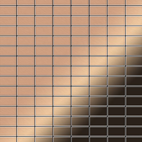 Mosaik Fliese massiv Metall Kupfer gewalzt in kupfer 1,6mm stark ALLOY Bauhaus-CM 1,05 m2