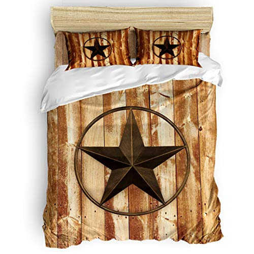 Cloud Dream Home 4 Pieces Luxury Duvet Cover Set Texas Star Wooden Board California King for Kids/Girl/Women/Adults Vintage Breathable Bedding Comforter Cover Sets with Zipper, 4 Corner Ties