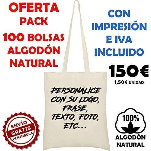 Pack 100 unidades Bolsa de tela algodón natural personalizada a su ...