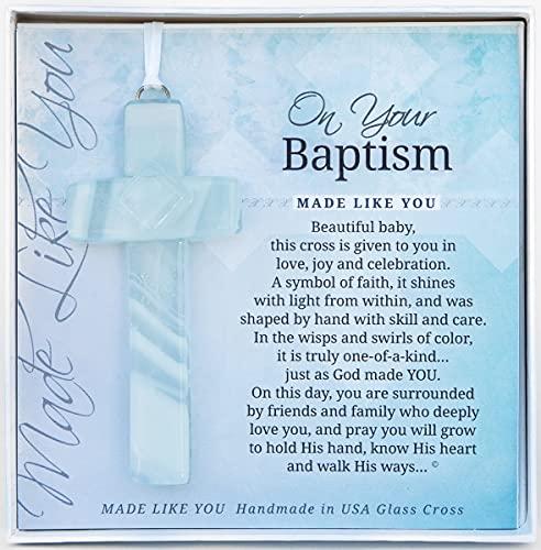 On Your Baptism Beautiful Baby Handmade Aqua Glass Cross