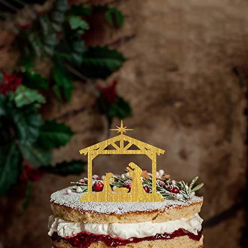 Decoración para tarta con diseño de silueta de belén personalizable con nombre/fecha, personalizable para tarta de cumpleaños, cita rústica para fiestas, decoración de tartas