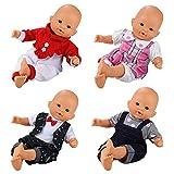 Miunana 4er Pack Puppenkleid Puppen Babypuppen Kleid Anzug Strampler Sets für Größe 35-36cm...