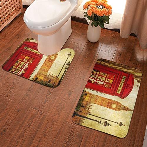 John J Littlejohn Non Slip London-1 Bathroom Antiskid Pad Bathmat Waterproof Bath Carpet Floor Mat Rug 2 Pieces Pads Bath Mat + Contour