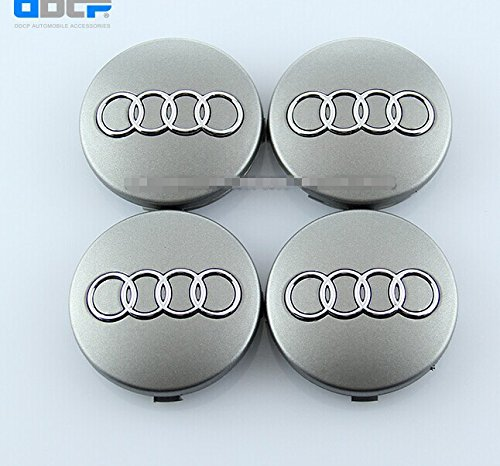 Dr Dry Set of 4 pcs 60mm Wheel Center Caps Hubcaps for Audi Silver