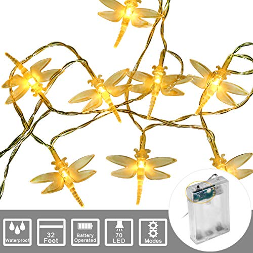 String Lights Night Light Waterproof Dragonfly Lights String Battery Operated String Lights Fairy LED Decorations for Wedding Party Christmas Home Garden Patio (Warm White, 20Feet 40Led)