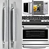 Volecy Refrigerator Door Handle Covers, Set of 5 Washable Cloth Decor Keep Appliance Clean for Fridge Microwave Stove Dishwasher Handles Keep Off Liquid Oil Stain Dirty Handprints(Silver Grayish)