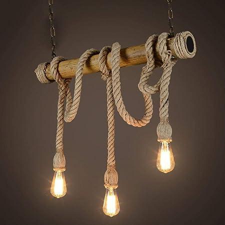 Chandelier suspendu nouveauté corde, lustre 3 têtes, ambiance vintage, corde de chanvre et suspensions en bambou